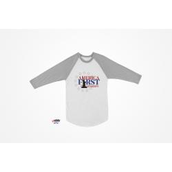 AMERICA FIRST Baseball Sleeve T-Shirt