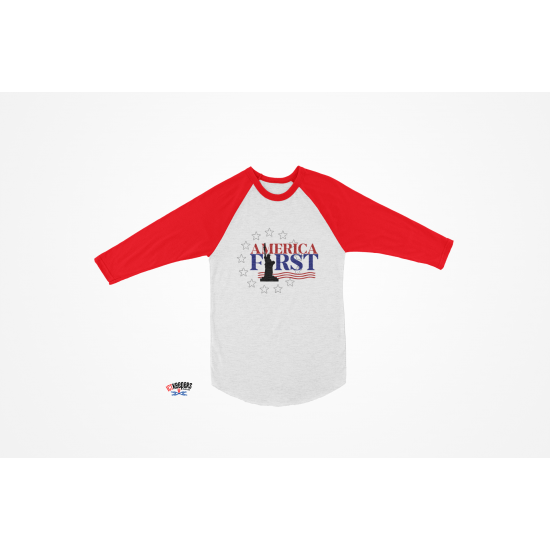 AMERICA FIRST Baseball Sleeve T-Shirt