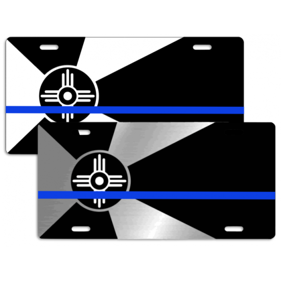 Auto License Tag Wichita City Flag with Blue Line