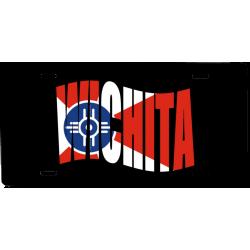 Auto License Tag Wichita Flag Text