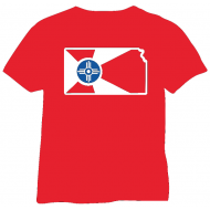 Red Glittered T-Shirt City Flag of Wichita Kansas