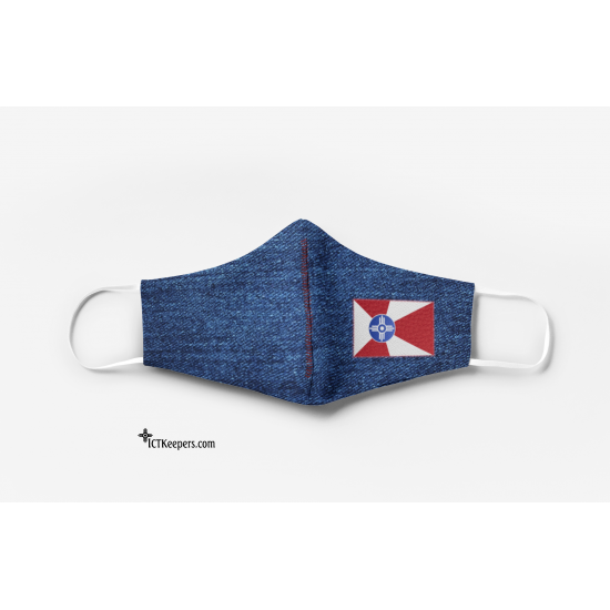 Wichita Flag Patch Face Mask Denim Print