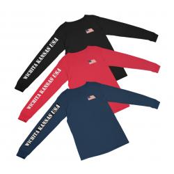 Wichita Kansas USA Flag Long-sleeved T-Shirt