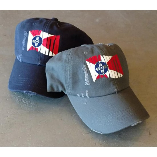 Stylized Wichita Flag Ball Cap Distressed