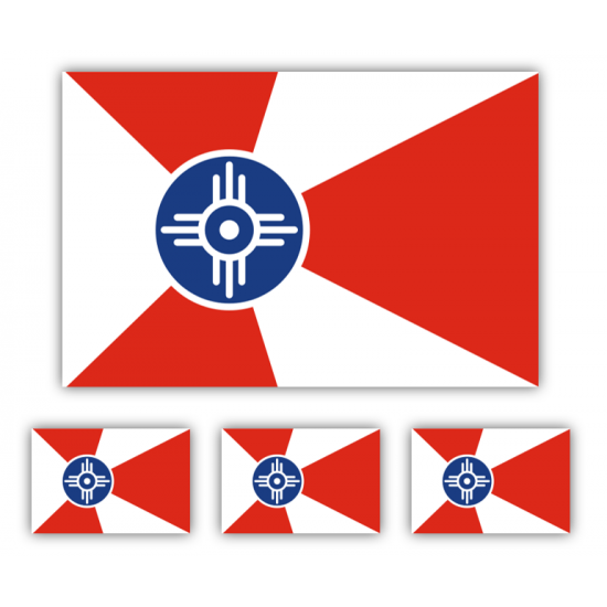 Wichita Flag Decal Set of 4